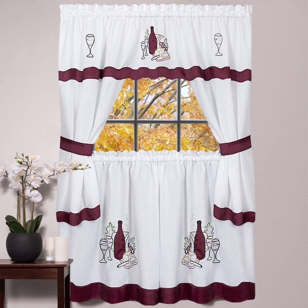DH 5 Piece 36 Inch Burgundy Wine Cabernet Kitchen Curtain Set, Red Embroidered White Color Drink Glass Graphic Design Bold Border Pattern Modern Contemporary Charming Cooking Theme, Polyester