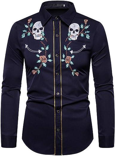 Loeay Camisas de Hombre Slim Fit de Manga Larga con Bordado de Calavera Rosa Camisas sociales