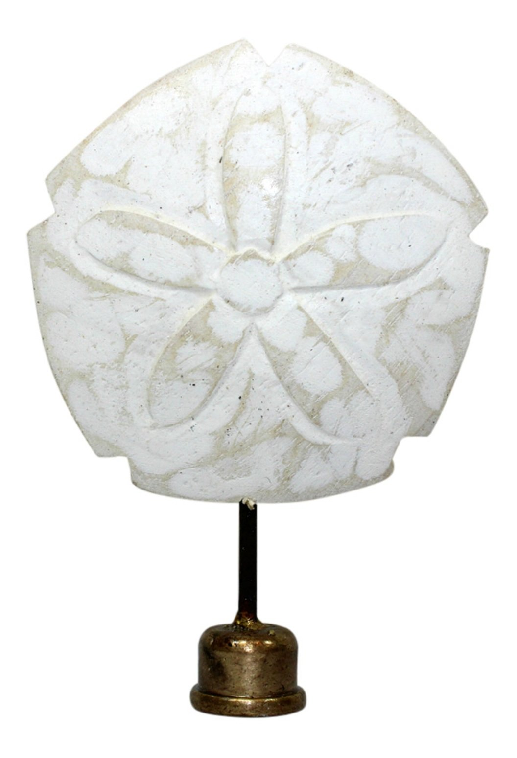 TIM Coastal Sand Dollar Lamp Finial Hand Carved Painted Whitewashed Wood 4 Inch