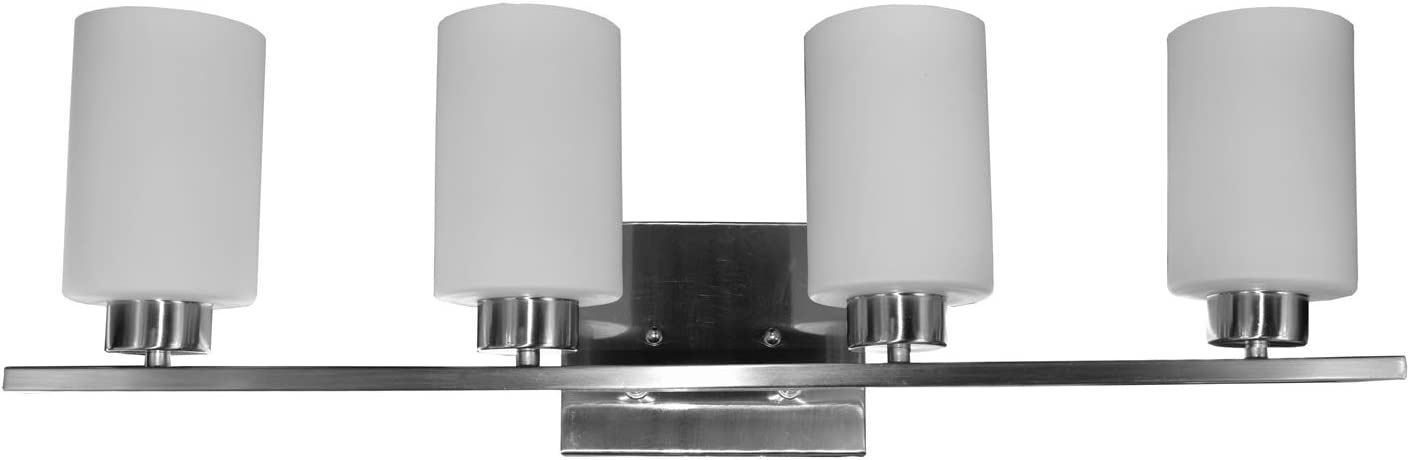 HomeSelects 7535 Vanity-Track Light, Brushed Nickel with Alabaster Glass Globes, 6 L x 30 W x 8 H