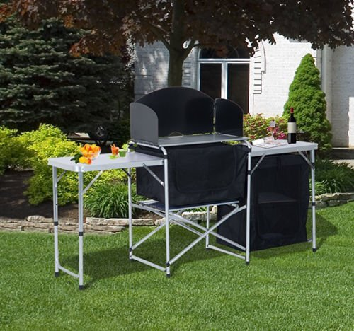 Outsunny Portable Fold-up Camp Kitchen with Windscreen, 6′