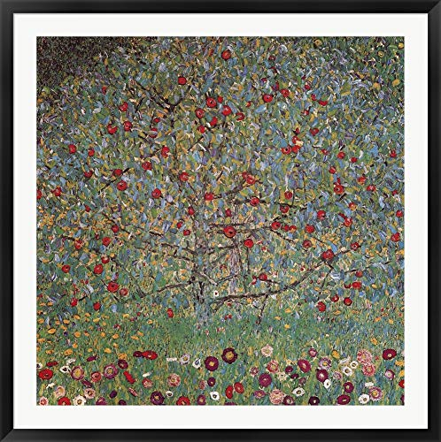 - The Apple Tree by Gustav Klimt Framed Art Print Wall Picture, Black Frame, 42 x 42 inches