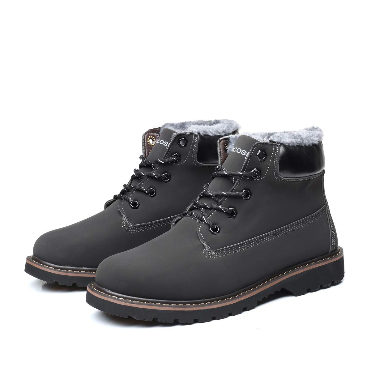 2b7b06086dd gracosy Mens Ankle Boots Winter Causal Outdoor Warm Boots Suede Leather  Waterproof Boots Lace Up Fur Lined Round Toe Snow Boots Work Formal Footwear  Shoes ...