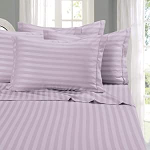 Elegant Comfort Best, Softest, Coziest 6-Piece Sheet Sets! - 1500 Thread Count Egyptian Quality Luxurious Wrinkle Resistant 6-Piece Damask Stripe Bed Sheet Set, Full Lavender/Lilac