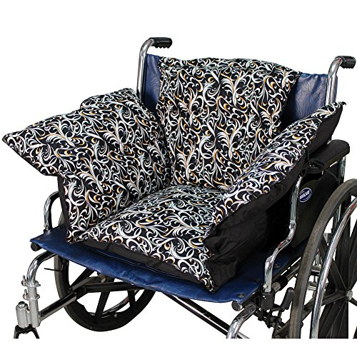 Fancy Black Comfort Cushion Soft Wheelchair Pad Helps Prevent Pressure Sores by Rose Healthcare