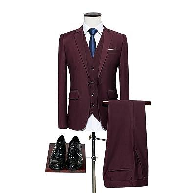 Amazon.com: Slim Fit 3 piezas Novio traje de boda para 4 x l ...