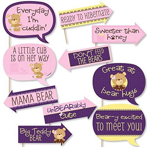 - Funny Baby Girl Teddy Bear - Baby Shower Photo Booth Props Kit - 10 Piece