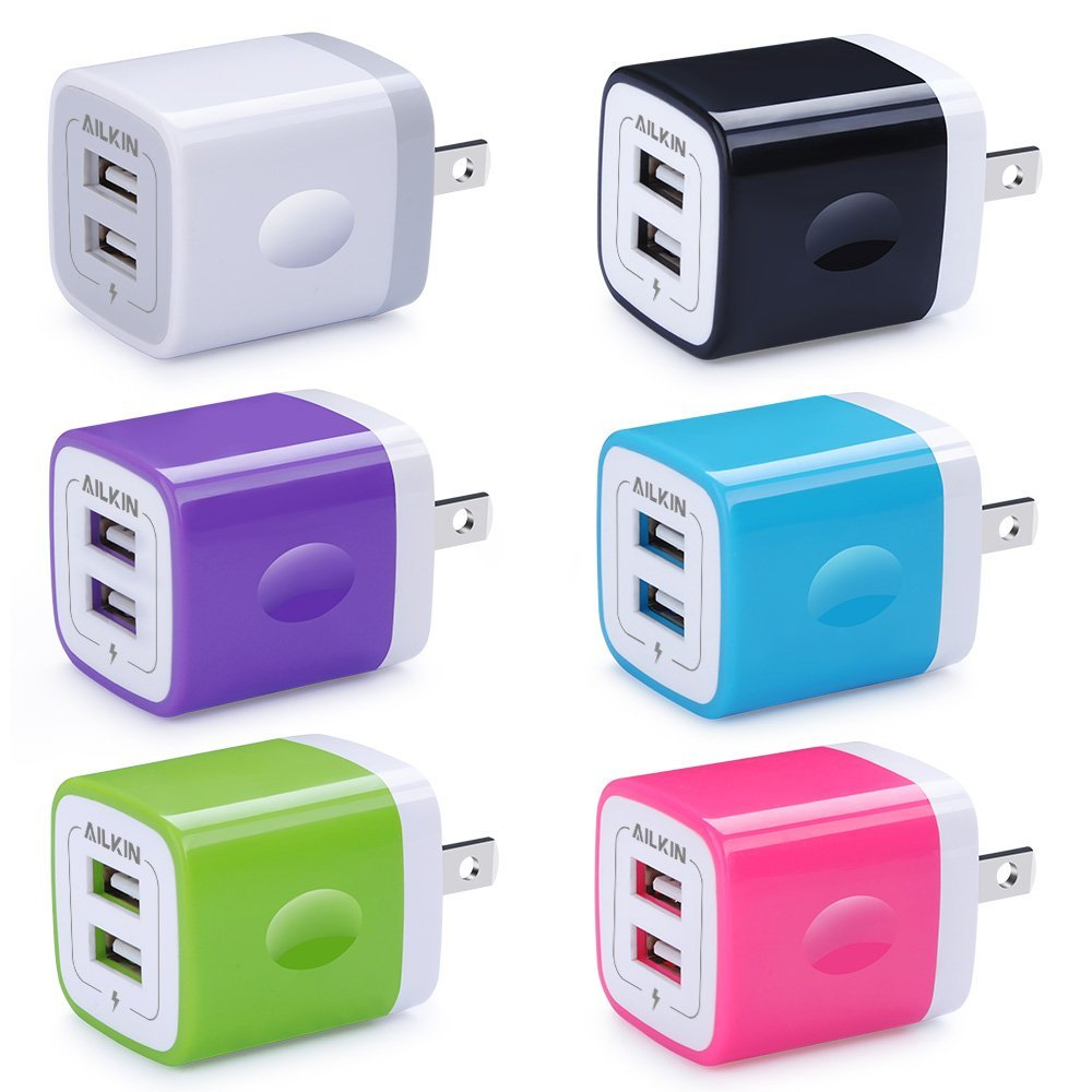 USB Wall Charger, Charger Adapter, Ailkin 6-Pack 2.1Amp Dual Port Quick Charger Plug Cube Replacement iPhone X/8/7/6S/6S Plus/6 Plus/6, Samsung Galaxy S7/S6/S5 Edge, LG, HTC, Huawei, Moto etc.