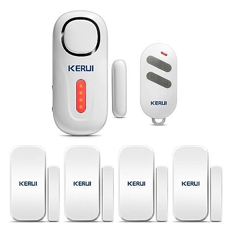 KERUI D2 Sensor de Alarma para Puertas y Ventanas con Sistema de Alarma inalámbrico para el hogar, 4 Zonas para el casa, Garaje, Oficina - 1 Alarma de ...
