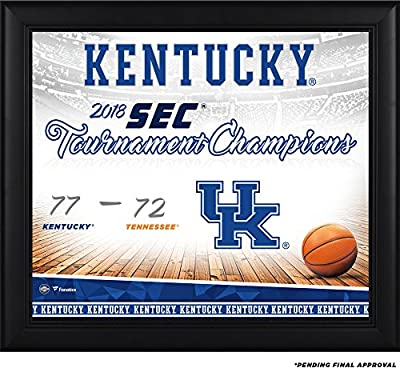 "Kentucky Wildcats Framed 15"" x 17"" 2018 SEC Men's Basketball Tournament Champions Collage - Fanatics Authentic Certified"