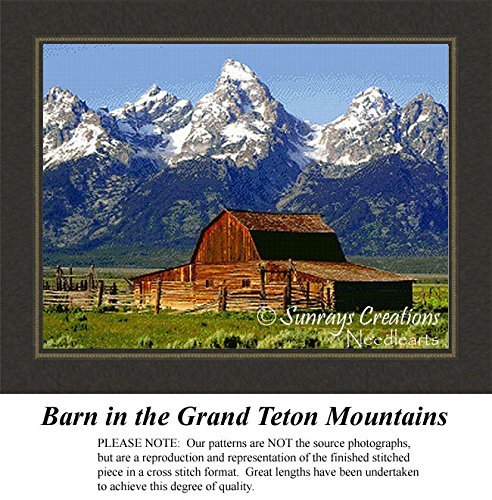 Landcape Cross Stitch Patterns | Barn in the Grand Teton Mountains (Pattern Only, You Provide the Floss and Fabric) by Sunrays Creations