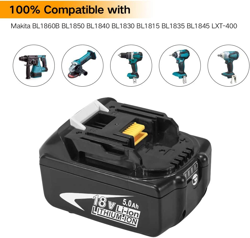 BL1850B Moticett 18V 5.0Ah Lithium Replacement Battery for Makita BL1850 BL1860 BL1860B BL1840 BL1830 BL1815 BL1835 BL1845 LXT-400 Cordless Power Tools with Indicator