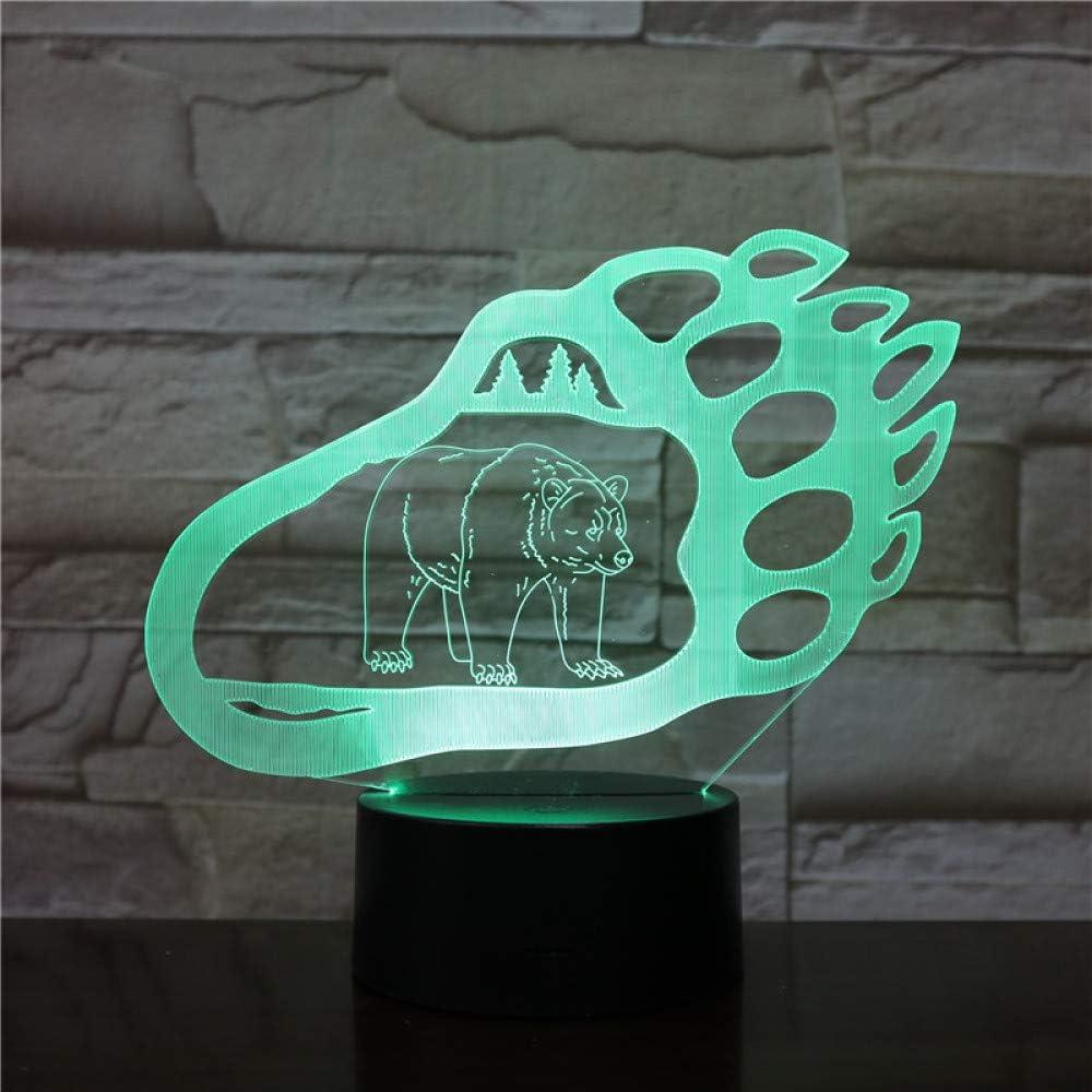 KangYD Novela Bear Paw LED Night Light, 3D Kids Sleeping Lamp, Atmosphere Lamp, Bluetooth Audio Base 5 Color,Lámpara de humor: Amazon.es: Iluminación