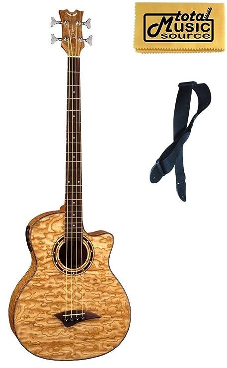 Dean Exotica Quilt Ceniza acústica/bajo eléctrico, incluye correa, natural, eqaba GN