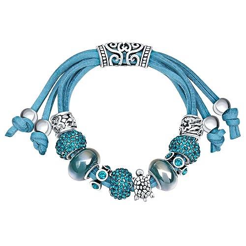 c189fbfe22fc MANBARA rosa y azul marino de perlas de vidrio de tortuga pulsera encanto  de la cadena