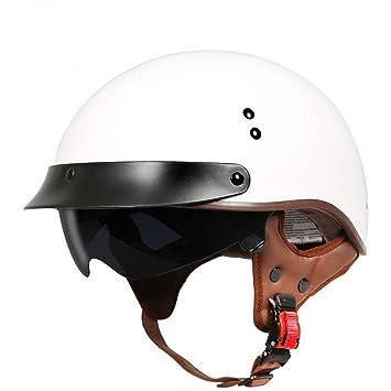 MATEROP Moycle Helmet Vintage Harley Casco Retro Scooter Medio Casco con Visera Interior Lente Casco Moto
