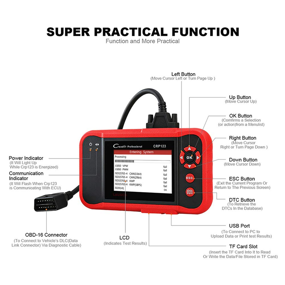 LAUNCH CRP123 OBD2 CReader ABS SRS Transmission Engine Code Reader Diagnostic Scanner by LAUNCH (Image #3)
