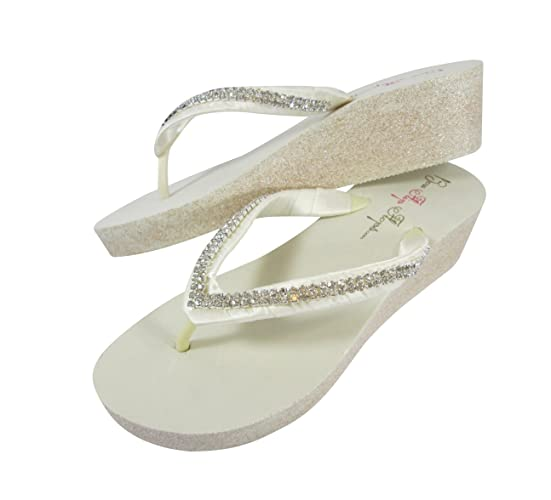 4bee12f534de Amazon.com  Diamond 2 inch Platform Flip Flops with Rhinestone Wedge  Glitter Heel- Ivory and Champagne Bling  Handmade