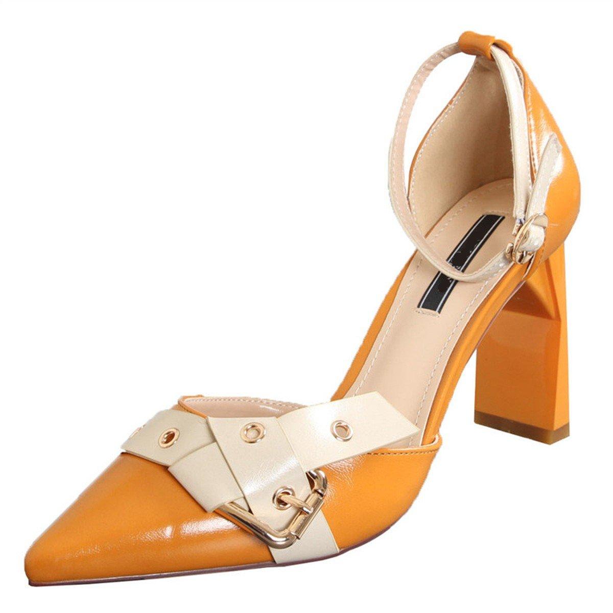 GTVERNH Damenschuhe Mode Spitz und Grob Grob Grob Frauen Schuhe Einzelne Schuhe Gürtel Hohl Schnalle Im Frühling und Sommer 9Cm Hochhackigen Schuhe. 9027d4