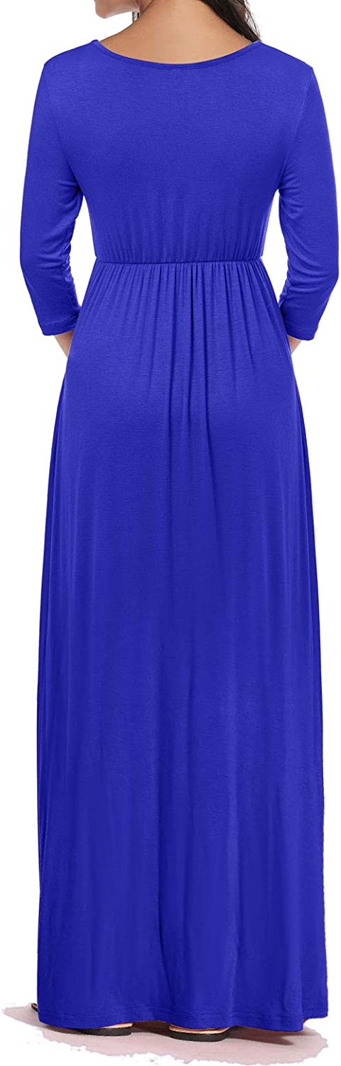 Yeshape Maternity Maxi Dress with Pockets Wrapped Ruched Maternity Dress for Baby Shower Photography