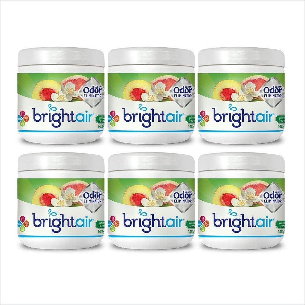 Bright Air Solid Air Freshener and Odor Eliminator, White Peach and Citrus Scent, 14 Oz Each, 6 Pack