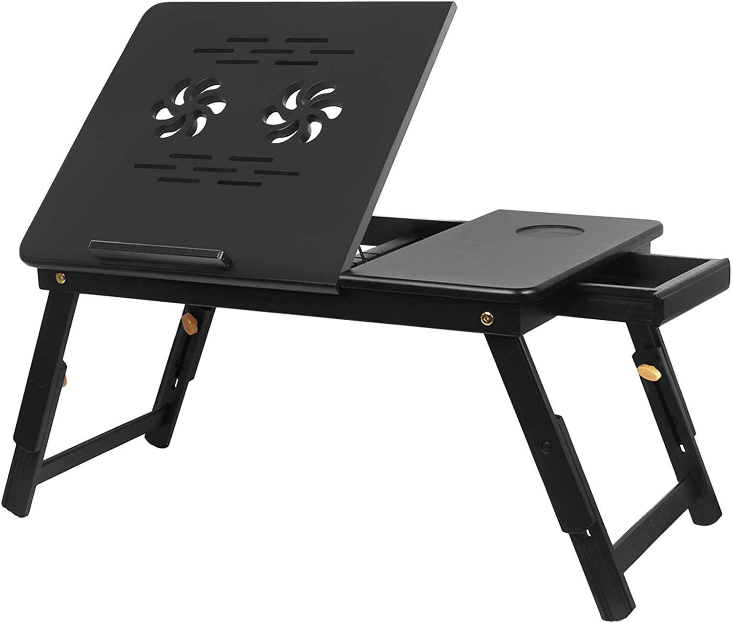 Bamboo Laptop Desk,Adjustable Portable Breakfast Serving Bed Tray Tilting Top with Storage Drawer for Couch,Multifunctional Table Floor Desk Notebook Stand with Folding Legs (Black)
