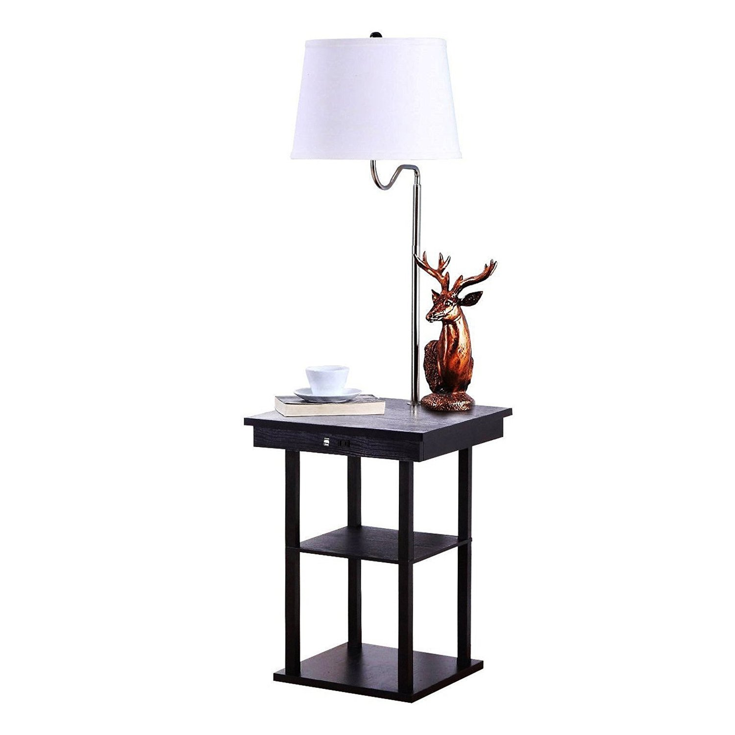 Delightful Brightech Madison LED Floor Lamp Swing Arm Lamp W/ Shade Built In End Table  Shelf, Includes 2 USB Ports 1 US Electric Outlet U2013 Bedside Table Lamp For  ...