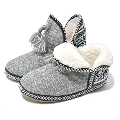 GPOS Women's Cashmere Knit House Slipper Booties Cotton Quilted Warm Indoor Ankle Boots | Slippers