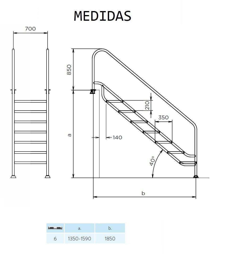 YMBERSA Escalera fácil acceso 6 peldaños antideslizantes FX de ancho especial ampliado a 657x350 mm. Acero Inoxidable AISI 316. Instalación sin necesidad de ...