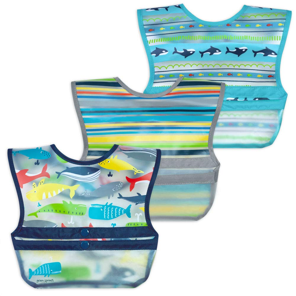 green sprouts Snap & Go Wipe-off Bibs (3 pk) |Waterproof protection for messy eaters | Neatly rolls up for mess and utensil storage, Flipped pocket stays extended to catch spills, Easy clean