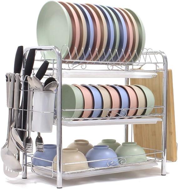 Dish Drying Rack 3-Tier Chrome Plating Dish Rack Stainless Steel Kitchen  Dish Drainer Rack Organizer Tool-Free Installation With Utensil  Holder/Drain ...