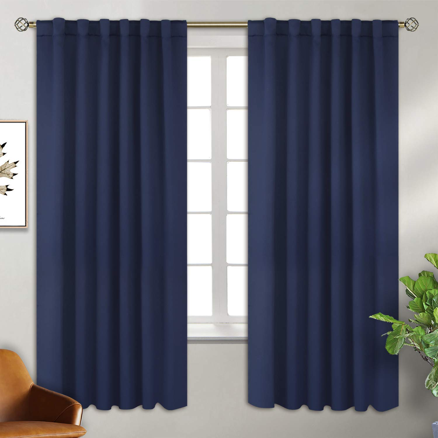 BGment Rod Pocket and Back Tab Blackout Curtains for Bedroom - Thermal Insulated Room Darkening Curtains for Living Room, 2 Window Curtain Panels (52 x 72 Inch, Navy) by BGment