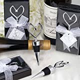 BalsaCircle 25 Silver Heart Shaped Bottle Stoppers Bridal Favor - Wedding Party Event Home Decorations Supplies