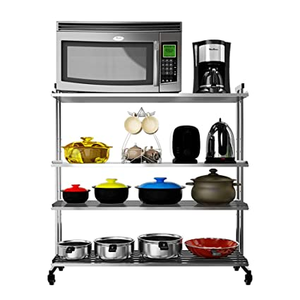 Kitchen Racks Stainless Steel Floor Stand Microwave Oven Pot Rack Storage Wheeled Bookshelf Four Layers