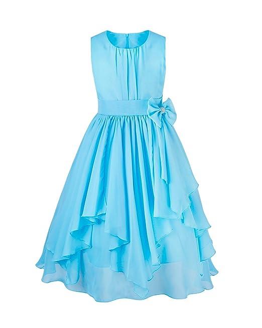 YIZYIF Vestido de Princesa Plisado Gasa Chiffón Sin Manga Elegante Vestido Fiesta Boda Cumpleaños Para Niñas
