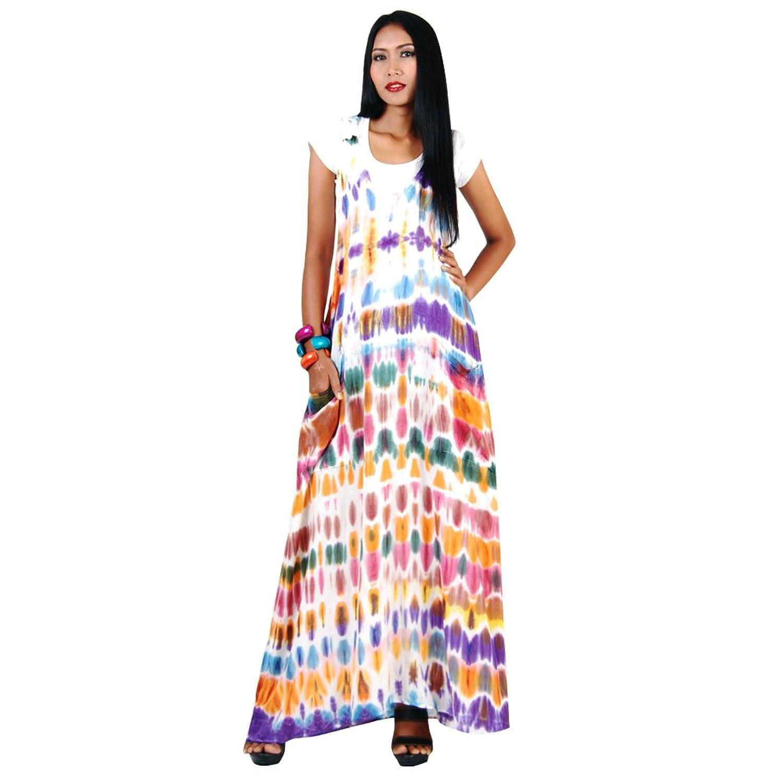 Langes Hippie Batik Kleid Baumwolle One Size (S & M) Weiß