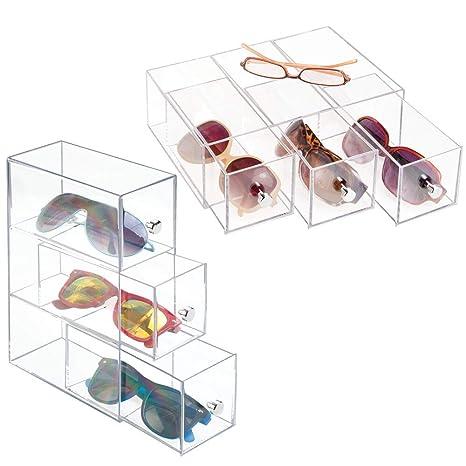 mDesign Juego de 2 cajas para gafas de sol - Cajoneras de ...
