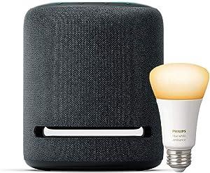 Echo Studio – High-fidelity smart speaker with Philips Hue Bulb – Alexa smart home starter kit