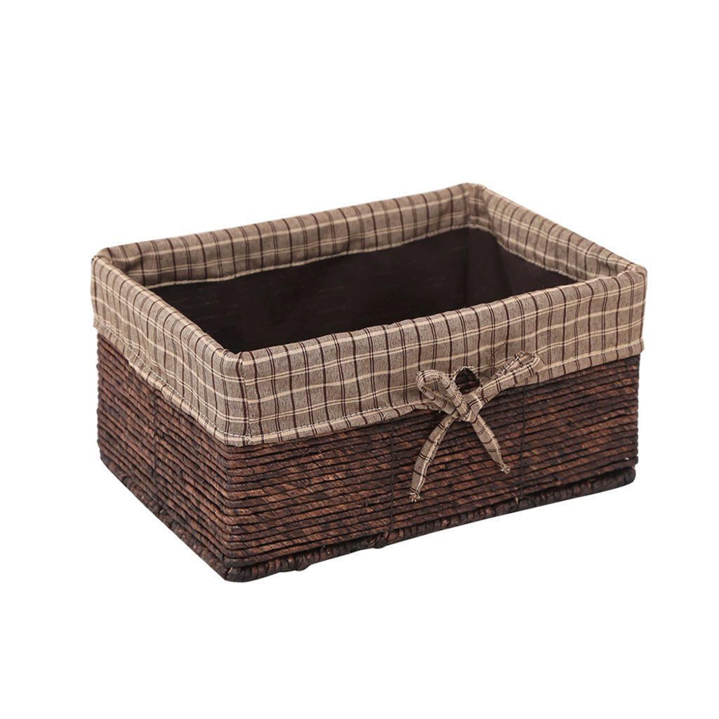 Woven Storage Basket, Desktop Sundries Storage Box Rectangular Rattan Weave Basket (Color : A, Size : Small)