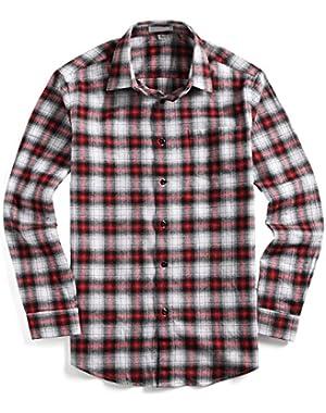 Mens Casual Button Down Cotton Shirts Slim Fit Long Sleeve Flannel Plaid Shirt