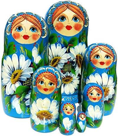 Floral Wooden Russian Nesting Dolls Stacking Babushka Matryoshka Doll Set