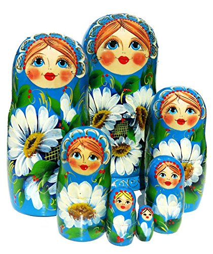 Daisy 7 Piece Russian Matryoshka Doll Blue Floral Stacking Toy Large Babushka Nesting Dolls With White Flowers