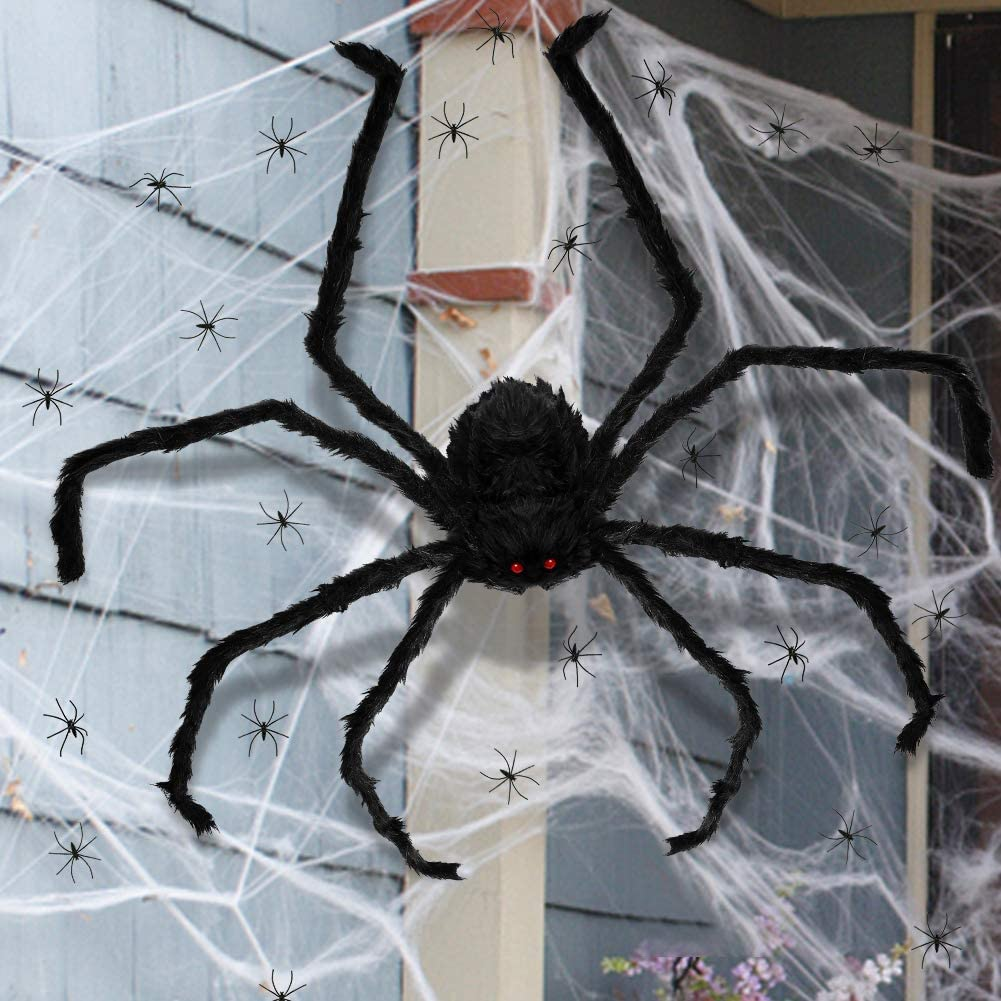 3 otters Giant Halloween Spider Decorations, 49inch Halloween Spider for Halloween Outside Decorations, with 50PCS Little Spiders