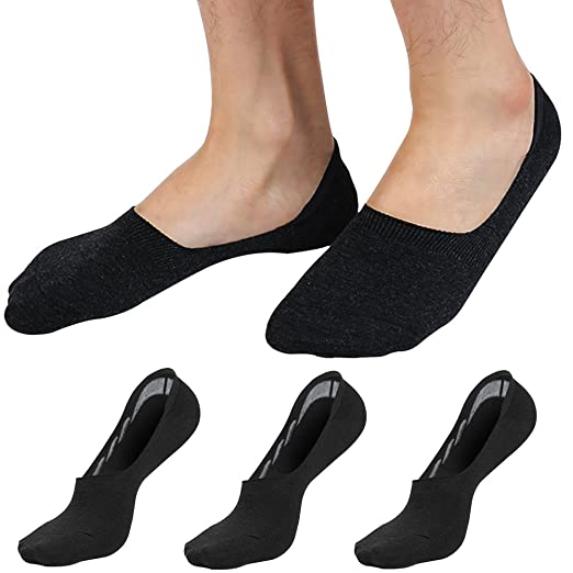 09a404247 Men s No Show Low Cut Invisible Cotton Socks Loafer Non Slip Boat Socks for  Flats Hidden