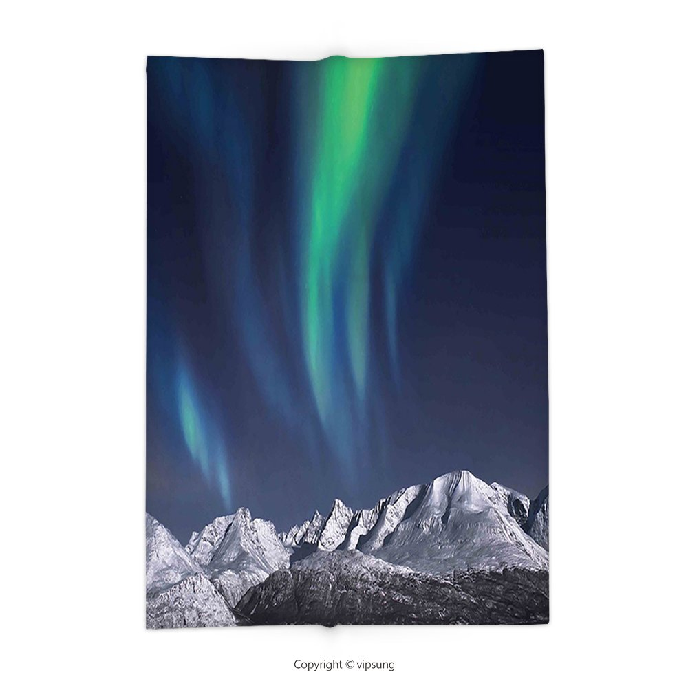 Custom printed Throw Blanket with Sky Decor Northern Lights Aurora over Fjords Mountain at Night Norway Solar Image Green Dark Blue Super soft and Cozy Fleece Blanket