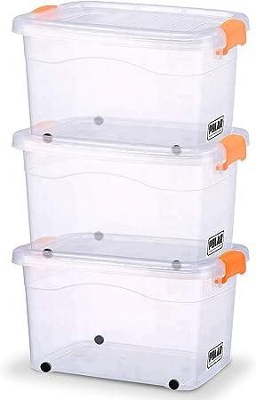 3 Cajas de Almacenamiento Polar con Tapa y Ruedas, Almacenamiento ...