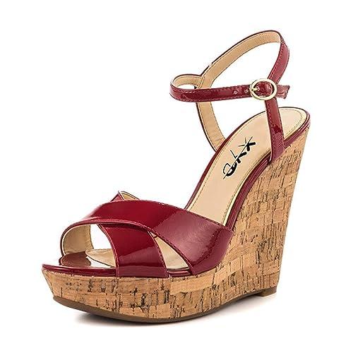 37a62750e9a8 XYD Comfort Platform Cork Wedges Slingback Shoes Peep Toe Sandals Ankle  Strap High Heels for Women