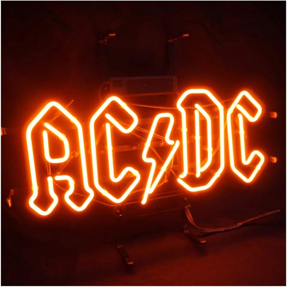 AC DC - Cartel luminoso de neón LED, para casa, bar, restaurante, billar, garaje, ventana, playa, descanso, habitación de juego, 44,95 x 35.05 cm: Amazon.es: Iluminación