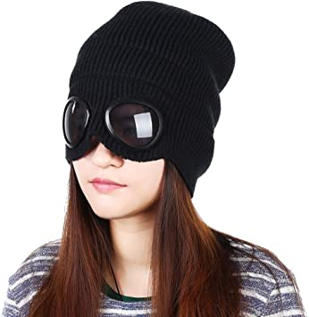 Black Unisex Wool Knitted Goggles Beanie Warm Winter Stylish Hat Outdoor Sports Fashion Cap