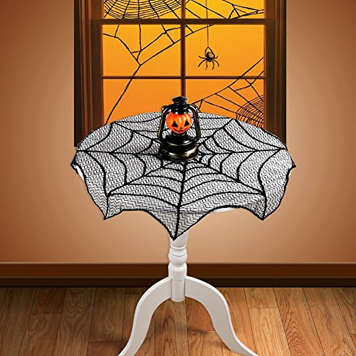 OurWarm 30 Inch Round Polyester Lace Table Topper, Black Spider Web Table Cloth for Halloween Party Decoration]()